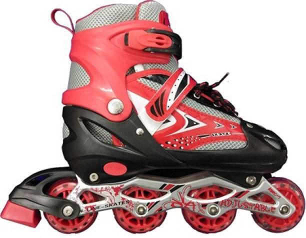 5 O' CLOCK SPORTS Adjustable Inline Skates with All Light up Wheels, Outdoor & Indoor Illuminating Roller Skates for Boys, Girls, Beginners Age 10-16 Years. In-line Skates - Size 6-9 UK