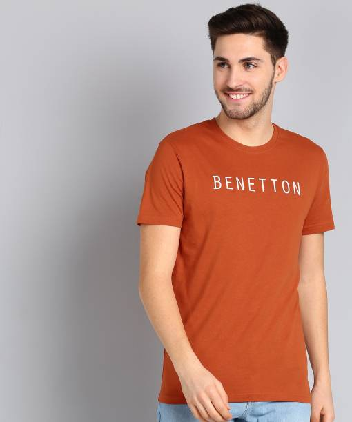 United Colors of Benetton Printed Men Round Neck Brown T-Shirt