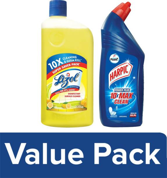 Harpic Disinfectant Toilet Cleaner Liquid, Original - 1 L and Lizol Floor Cleaner, Citrus - 975 ml (1.975 L)