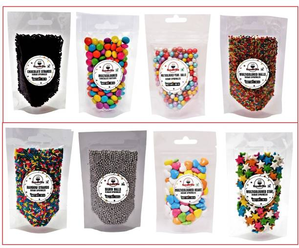 foodfrillz Cake decoration Sprinkles Pack of 8 (50 g each) - Multicoloured Pearl Balls & Small Sugar Balls, Choco & Rainbow Vermicelli Strands, Silver Balls, Star, Choco Buttons & Heart Candy Sprinkles