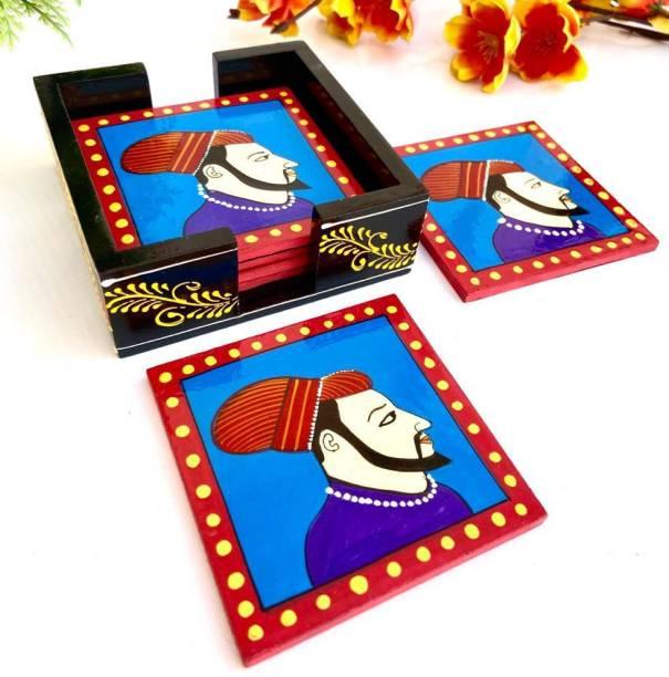 Arnav Arts Square Wood Coaster Set
