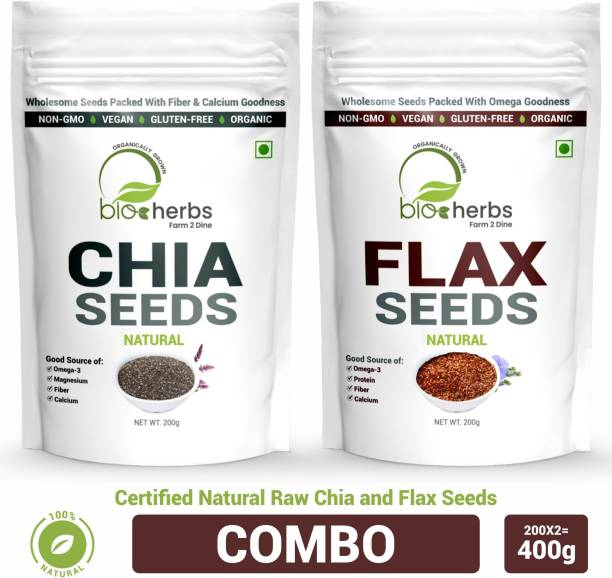 Bioherbs Certified Raw Chai & Flax Seeds Combo Pack For Fiber & Weight Loss With Omega-3