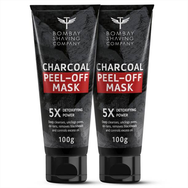 BOMBAY SHAVING COMPANY Activated Charcoal Peel Off Mask with 5X Detoxifying Power, fights pollution and De-Tans skin, 2 x 100 g (Value Pack of 2)