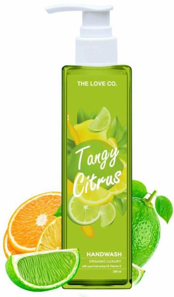 The Love Co. Liquid Hand Wash, anti bacterial with neem oil and Tulsi Extracts, Tangy Citrus- 200 ml bottle Hand Wash Bottle