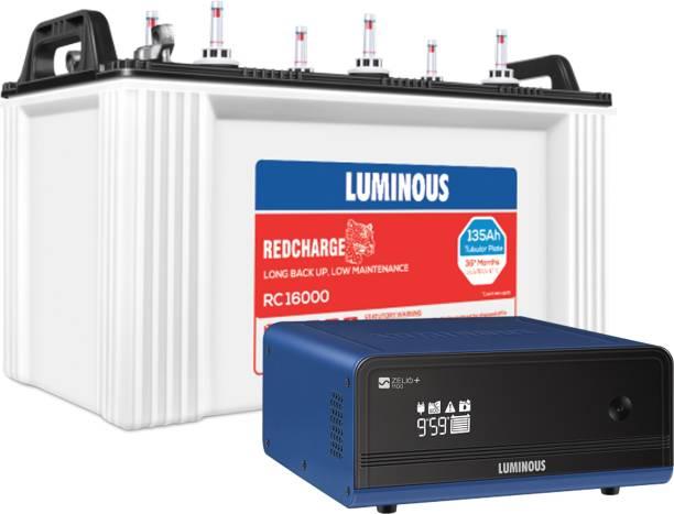LUMINOUS RedCharge RC16000 135Ah Short Tubular Battery + Zelio+ 1100 Pure Sine Wave Inverter Tubular Inverter Battery
