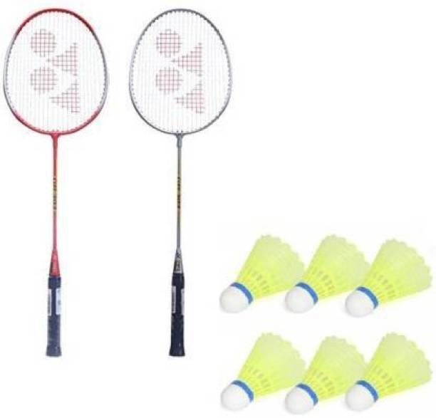 JOJOMART Badminton Set Of 2 Piece Racquet with 6 Piece Plastic Shuttle Badminton Kit