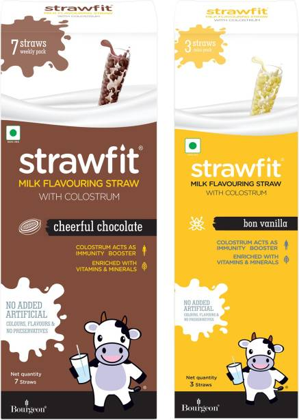 Strawfit Milk Flavouring Straw With Colostrum   Cheerful Chocolate + Bon Vanilla   For Colostrum Acts As Immunity Booster, Enriched With Vitamins & Minerals   Set of 2   7 Straws Weekly Pack + 3 Straws Mini Pack  