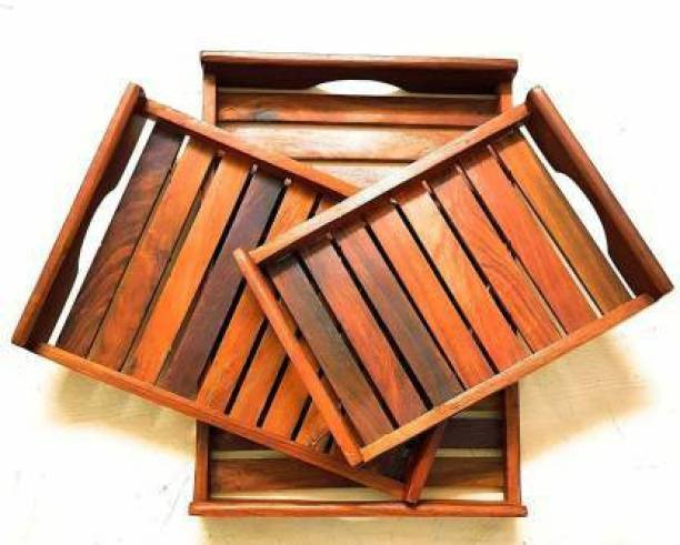 Star Handicrafts Wooden Tray Set A051 Tray
