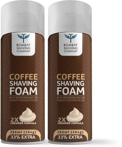 BOMBAY SHAVING COMPANY Coffee Shaving Foam with Coffee Extracts, Macadamia Nut Oil, Olive Oil and 2X Creamier Formulae for Superior Glide and Protection 266 ml (33% Extra) Pack Of 2