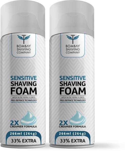 BOMBAY SHAVING COMPANY Sensitive Shaving Foam with Aloe Vera, Oats, Menthol and 2X Creamier Formulae for Superior Glide and Protection 266 ml (33% Extra)(Pack of 2)