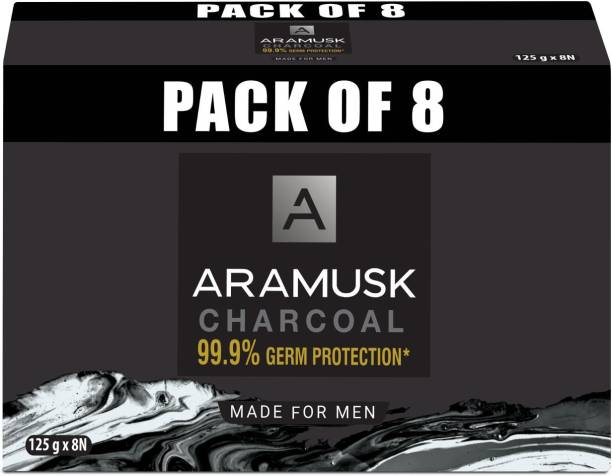 Aramusk Charcoal Mens Soap with 99.9% Germ Protection