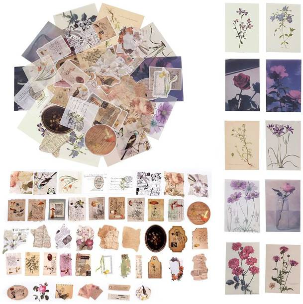 HASTHIP Small 55 Pcs Stickers Set Mucha Girls Journal Stickers for Planner DIY Decorative Stickers for Scrapbook Journaling Diary Book Planner Art Project 55 Designs (Multi-color4)