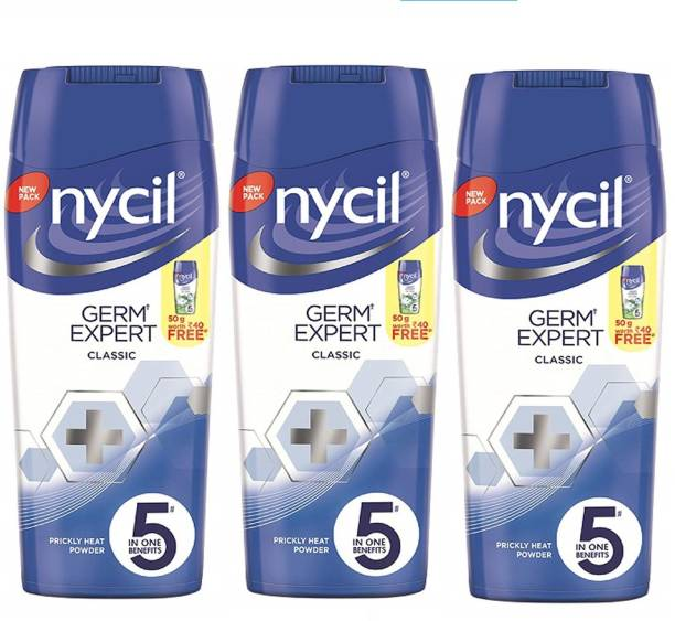 NYCIL Germ Expert Prickly Heat CLASSIC Powder - 3 x 150 g Packs
