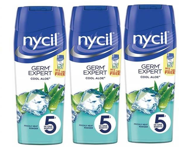 NYCIL Germ Expert Prickly Heat COOL ALOE Powder - 3 x 150 g Packs