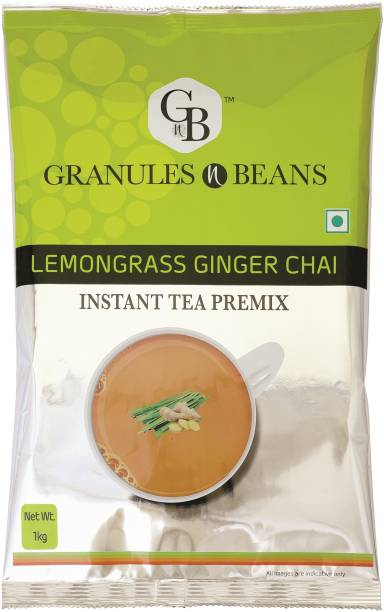 Granules and Beans Lemongrass Ginger Tea Instant Premix   Lemongrass Adrak Chai Instant Pemix   Bulk Pack of 1 Kg, Instant Chai for Immunity & Freshness Lemon Grass, Ginger Instant Tea Pouch