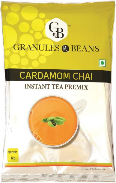 Granules and Beans Cardamom Tea Instant Premix  Elaichi Instant Chai Premix   Bulk Pack of 1 Kg, Instant Chai for Immunity & Freshness Cardamom Instant Tea Pouch