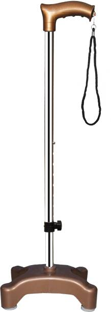 KDS SURGICAL 4 Leg Quadripod chrome Copper Height Adjustable Men/Women/Old Age People With Hand Support Walking Stick