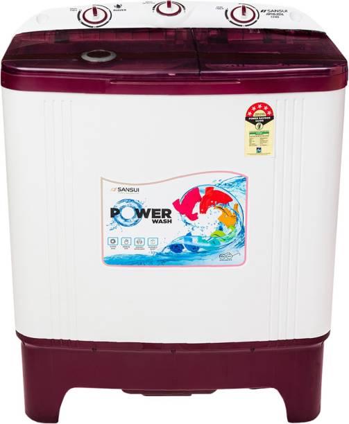 Sansui 7 kg Semi Automatic Top Load Red, White