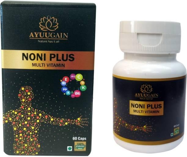 AYUUGAIN Noni Plus Multivitamin Capsules With Ashwagandha, Shilajit, Spirulina, Ram Tulsi