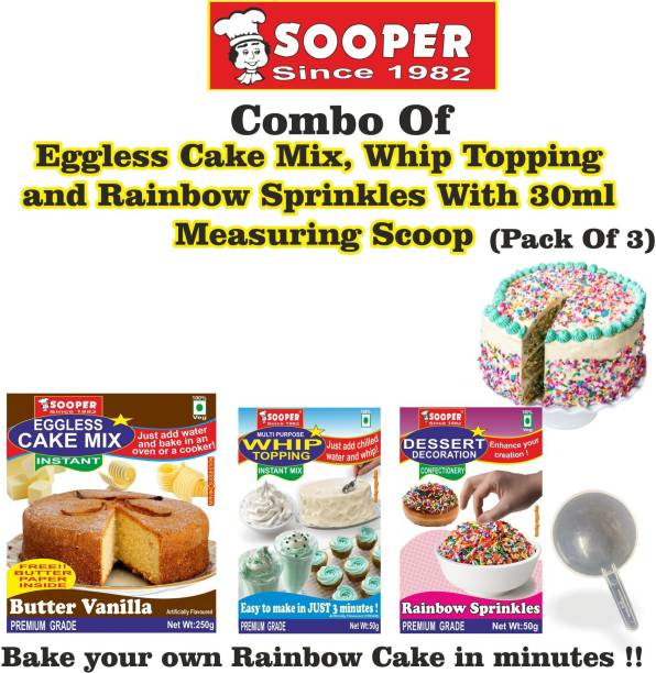 SOOPER Cake Mix 250g+ Whipping Cream Mix 50g+ Rainbow Sprinkles 50g+ SCOOP Topping
