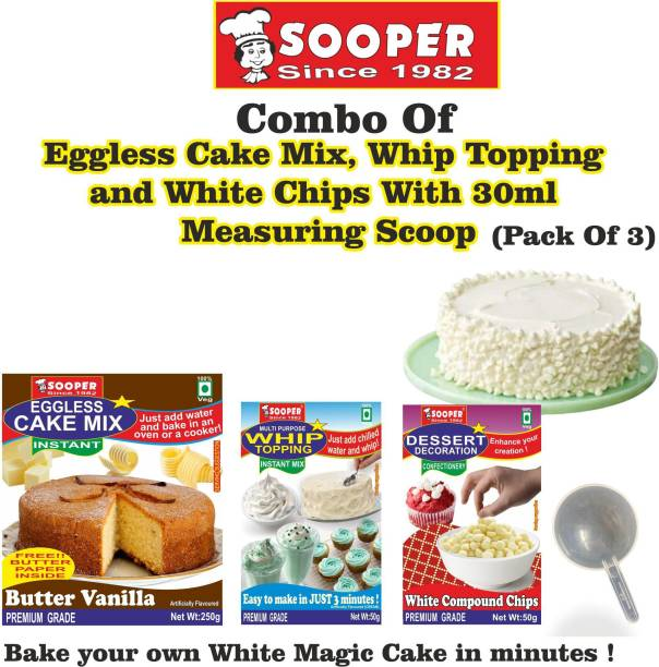 SOOPER Cake Mix 250g+ Whipping Cream Mix 50g+ White Choco Chips 50g+ SCOOP Topping
