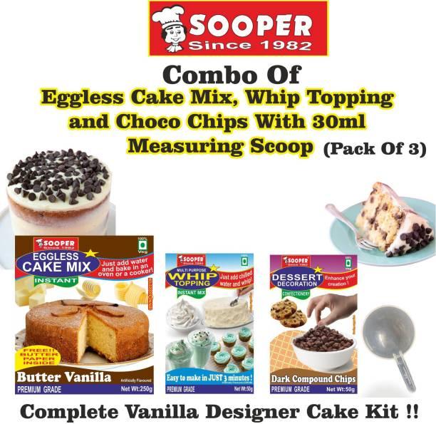 SOOPER Cake Mix 250g+ Whipping Cream 50g+Dark Choco Chips 50g+ SCOOP Topping