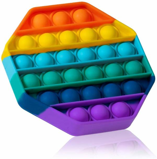 VIBOTON Pop It Fidget Toys, Push Pop Bubble Fidget Sensory Toy,Autism Silicone Stress Relief Toy,Great Fidget Toy Sensory Toys Novelty Gifts for Girls Boys Kids Adults (Rainbow Hexagon) Bath Toy
