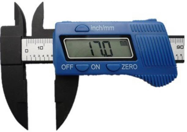 SAFESEED Vernier Caliper Electronic Digital Ruler Measuring tool Gauge Depth Meter Carbon Fiber Composite 6inch 150mm LED Screen with storage box - Blue Vernier Caliper