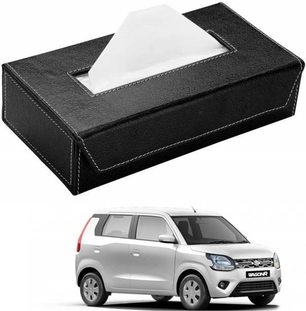 AuTO ADDiCT Car Tissue Box Paper Tissue Holder Black with 200 Sheets(100 Pulls) For Maruti Suzuki New Wagonr(2019-Present) Vehicle Tissue Dispenser