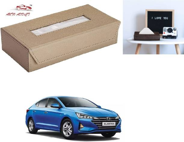 AuTO ADDiCT Car Tissue Box Paper Tissue Holder Beige with 200 Sheets(100 Pulls) For Hyundai Elantra Vehicle Tissue Dispenser
