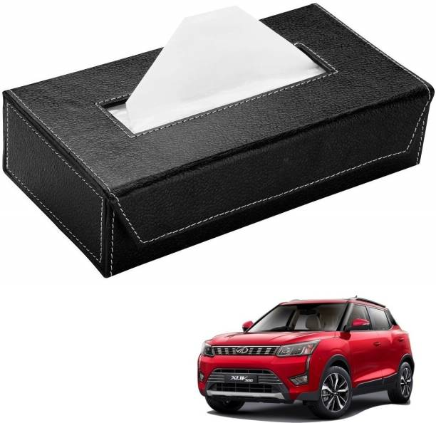 AuTO ADDiCT Car Tissue Box Paper Tissue Holder Black with 200 Sheets(100 Pulls) For Mahindra XUV 300 Vehicle Tissue Dispenser