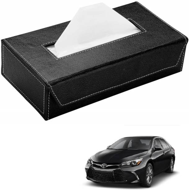 AuTO ADDiCT Car Tissue Box Paper Tissue Holder Black with 200 Sheets(100 Pulls) For Toyota Camry Vehicle Tissue Dispenser