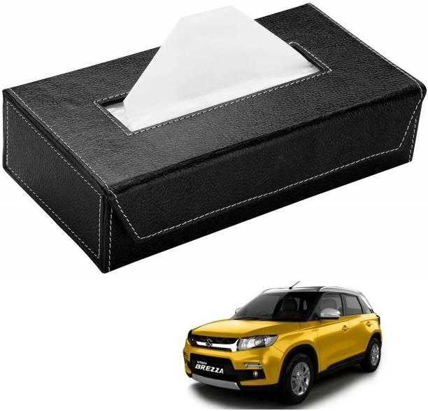 AuTO ADDiCT Car Tissue Box Paper Tissue Holder Black with 200 Sheets(100 Pulls) For Maruti Suzuki Vitara Brezza Vehicle Tissue Dispenser