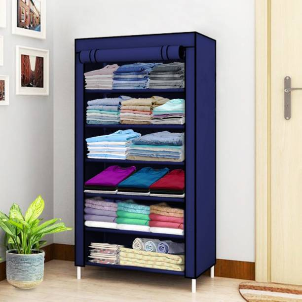 FLIPZON 1 Door Multi-Purpose 6 Shelf Fabric PP Collapsible Wardrobe