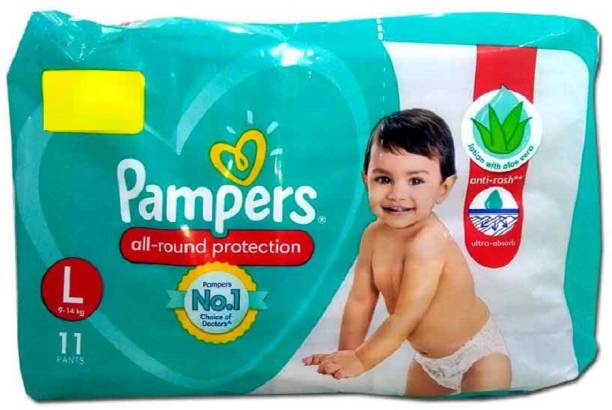 Pampers All Rounder Protection Baby Pants Lotion With Aloe Vera (11 Pants, Large Size) - L