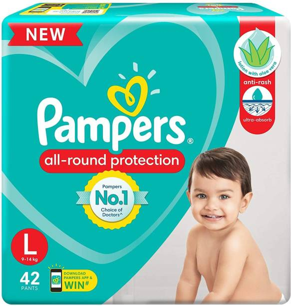 Pampers All Rounder Protection Baby Pants Lotion With Aloe Vera (42 Pants, Large Size) - L