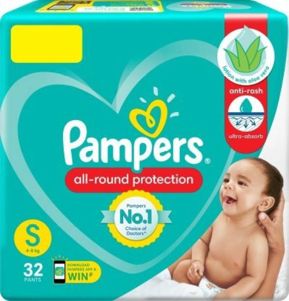 Pampers All Rounder Protection Baby Pants Lotion With Aloe Vera (32 Pants, Small Size) - S