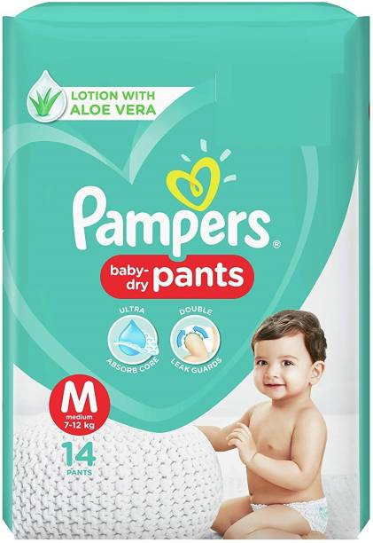 Pampers Baby-Dry Pants Lotion With Aloe Vera (14 Pants, Medium Size) - M