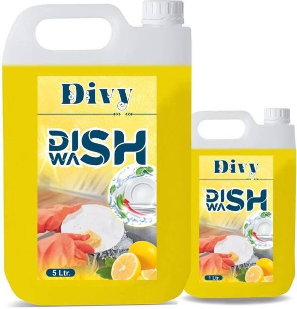 Divy 5+1 liter Dish_washing_detergent (5l) Dishwashing Detergent (1 L) Dishwash Bar