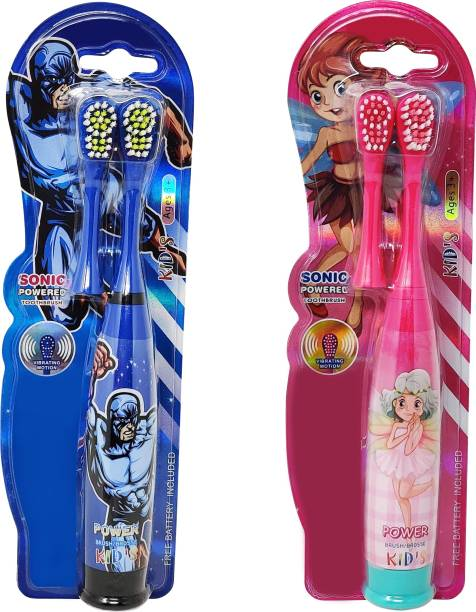 Parteet Combo Pack of Kids Cartoon Printed Extra Soft Electric Battery Powered Toothbrush for Kids(2Pc) Electric Toothbrush