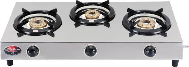 Suryaflame 3B TRIPLE COOK NA (ISI MARKED CE MARKED) and Doorstep Service Stainless Steel Manual Gas Stove