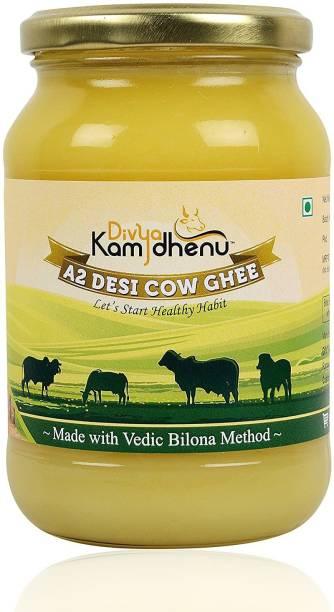 Divya Kamdhenu A2 Desi Cow Ghee Vedic Bilona Method Grass feed Natural organic 2,Litre 2 L Glass Bottle
