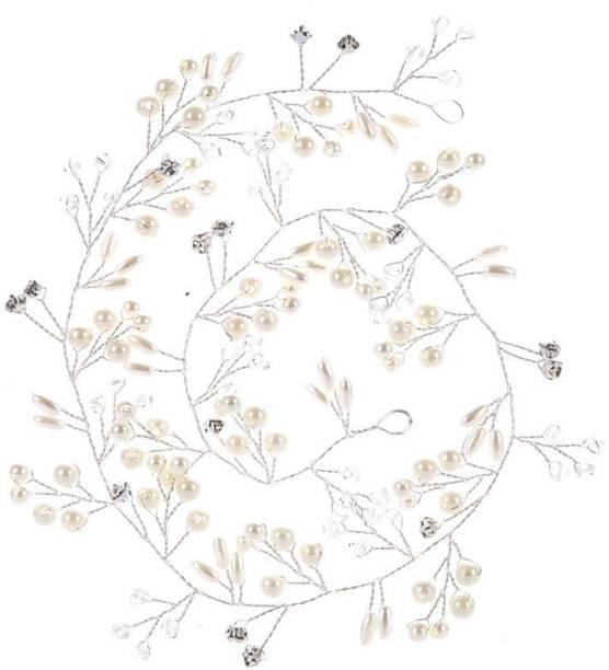 VAGHBHATT Silver Fashion Hand Made Headdress (50 cm) Wedding Crown Pearl Floral Hair Accessories Crystals Bridal Wedding Headband, Hair Vine and Headpiece for Girls and Women Hair Pin
