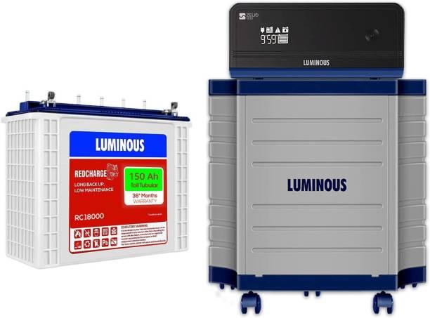 LUMINOUS Zelio 1100 + Rc18000 Tall Tubular Battery+ Trolley Tubular Inverter Battery (150) Tubular Inverter Battery