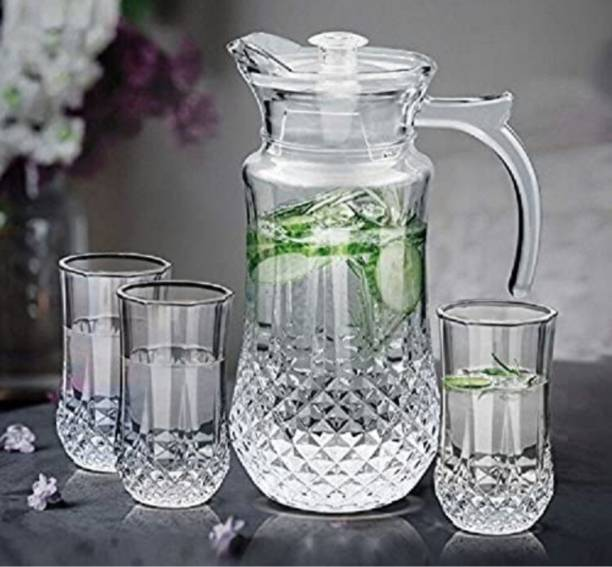 Joy2u (pack of 7)Glassware Imported Crystal Glass Carafes & Pitchers Jug (1.5 L) 6 Glass Jug Glass Set
