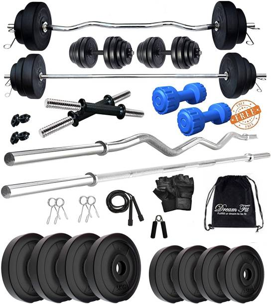 DreamFit 30 kg Home gym with 5 ft Straight Rod , 3 ft Curl Rod Free pair of 2 kg pvc Dumbbells ( 2kg x 2 = 4 kg) And Accessories Home Gym Kit