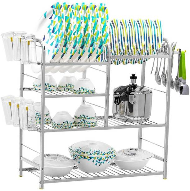 UNIFY Stainless Steel 4 Shelf Wall Mount Kitchen Racks | Dish Rack with Cutlery and Plate Kitchen Stand | Modular Kitchen Bartan Stand | Kitchen Organizer Items | Vessels Stand (24x24 inches) Utensil Kitchen Rack