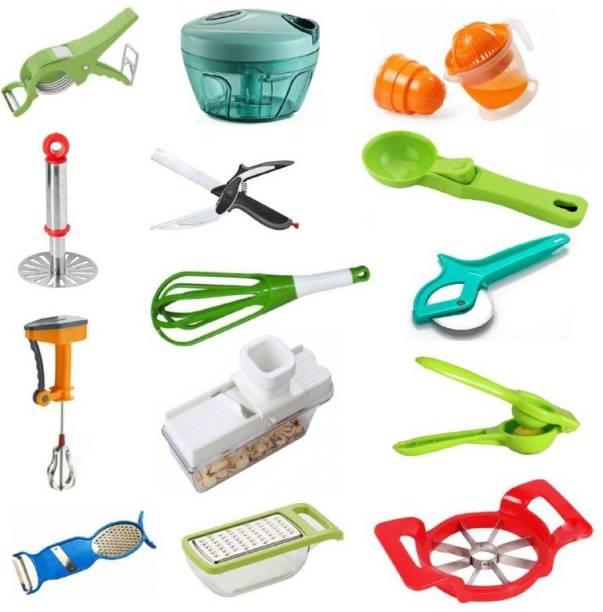 """JASHU N RINKU"" COMBO-14002 Helpful 14 pcs Kitchen Tools Set Combo-14002 (Best Quality) (Multicolor) Multicolor Kitchen Tool Set"