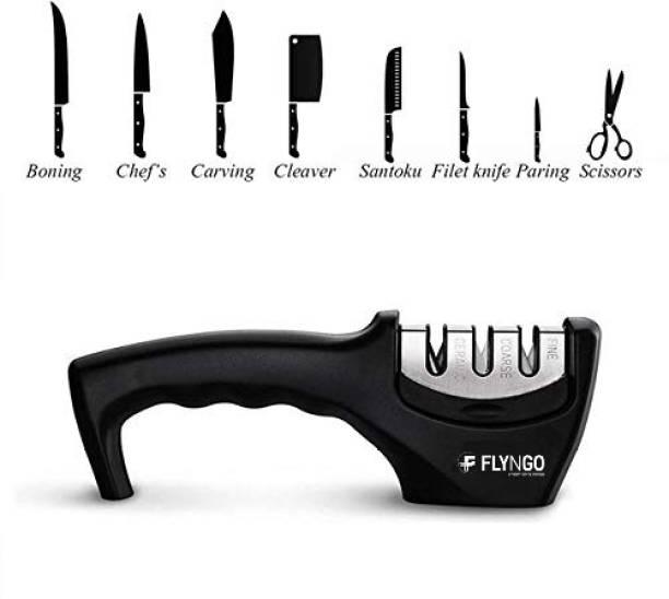 FLYNGO 3 Stages Knife Sharpener Ceramic, Diamond and Stainless Steel Knife Knives Scissor and Blade Sharpening Non-Slip Tools Sharpener Knife Grinder Knife Sharpening Stone
