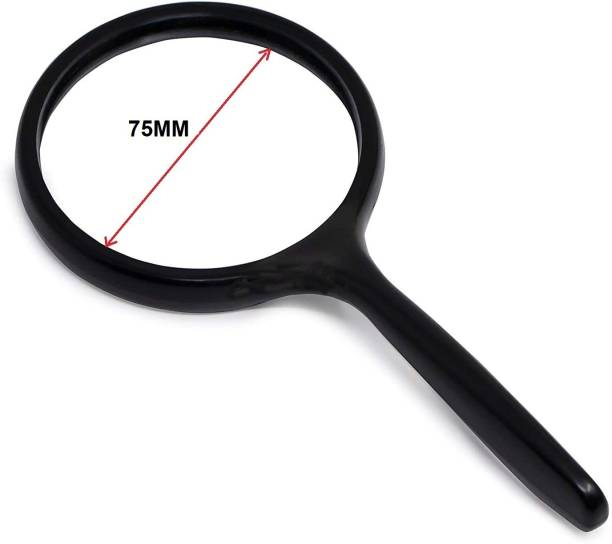 GeoKraft Magnifying Glass Lens 75MM Double Glass for Reading, 10X High Power Handheld Magnifying Glass for Reading and viewing small objects 10X Magnifying Glass
